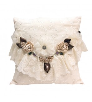 Lovely Lace Cushion with Insert-Cream Lace