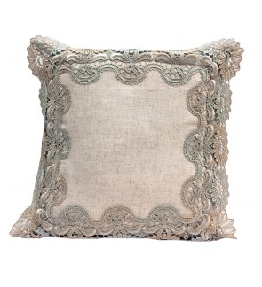 Lovely Lace Cushion with Insert-Cotton Linen Mixed
