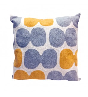 LOVELY LACE CUSHION WITH INSERT-YELLOW/GREY FULL EMBROIDERY