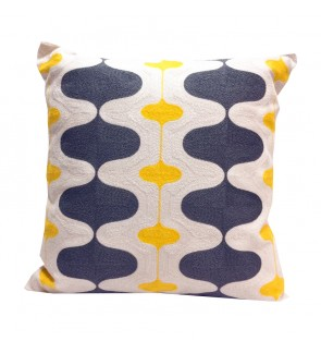 Lovely Lace Cushion with Insert-Grey/Yellow Full Embroidery
