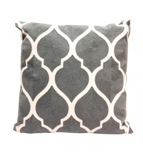 Lovely Lace Cushion with Insert-Cool Grey Full Embroidery