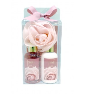 180ml Rose Body Lotion & Shower Gel Set with Sponge