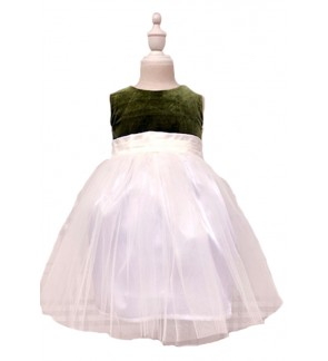 Baby Green Velvet Sleeveless Dress