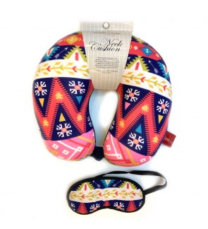 Neck Pillow with Matched Eyemask - Ethnic
