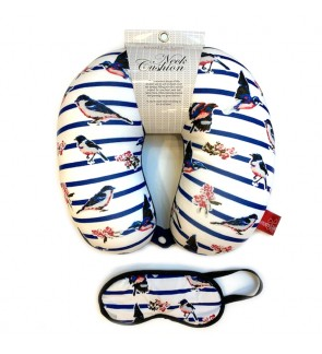 Neck Pillow with Matched Eyemask - Birds