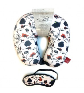 Neck Pillow with Matched Eyemask - Floral