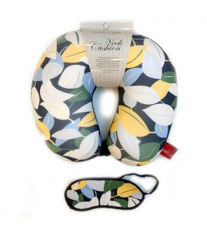 Neck Pillow with Matched Eyemask - Yellow Leaf