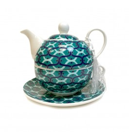 Glass Tea Pot with Porcelain Cup & Saucer - (Green&White)