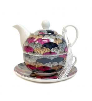 Glass Tea Pot with Porcelain Cup & Saucer - (Colorful)