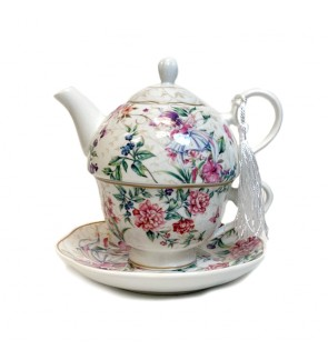 Glass Tea Pot with Porcelain Cup & Saucer - (Floral)
