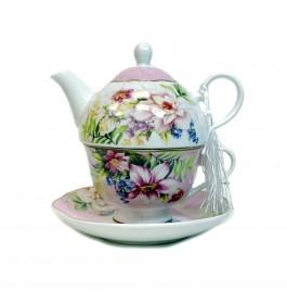 Glass Tea Pot with Porcelain Cup & Saucer - (Tropical)