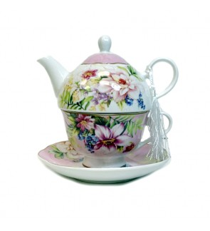 Glass Tea Pot with Porcelain Cup & Saucer - (Tropical)