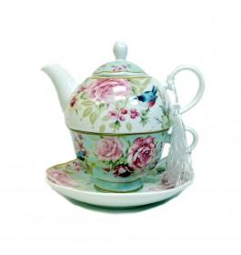 Glass Tea Pot with Porcelain Cup & Saucer - (Bird)