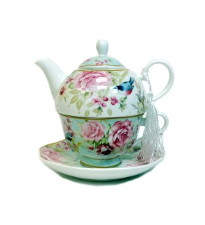 Glass Tea Pot with Porcelain Cup & Saucer - (Bird)