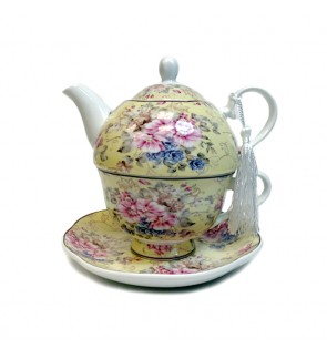 Glass Tea Pot with Porcelain Cup & Saucer - (Yellow)
