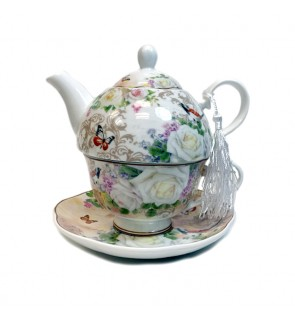 Glass Tea Pot with Porcelain Cup & Saucer - (Rose)